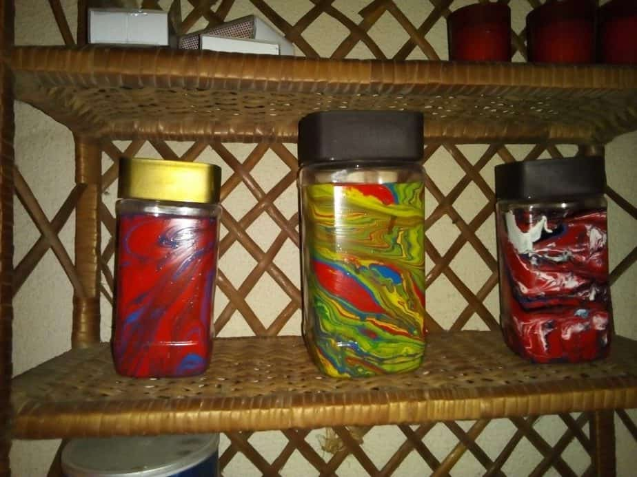 decoração abstrata de frascos